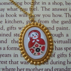 Babushka Russian Doll Pendant Necklace