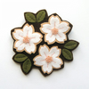 SALE: Cherry Blossom Trio, felt flower brooch, white & peach