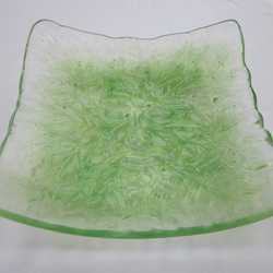Handmade fused glass candy bowl - green man 1