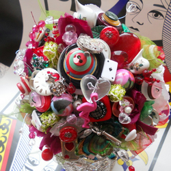 Alice in wonderland bespoke bridal silk button wedding posy