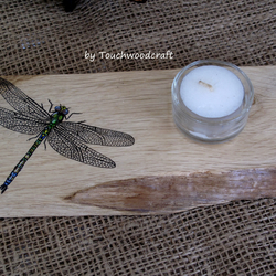 Dragonfly T-light holder, Rustic, Candle holder, Handcrafted, OOAK, Handpainted,