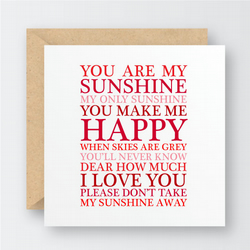 You are my Sunshine Valentine's Card