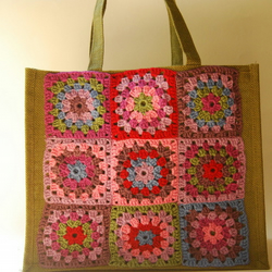 Jute Shopping Bag with Nine Crochet Patchwork Square Decoration