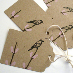 5 gift tags, screenprinted on recycled manilla card