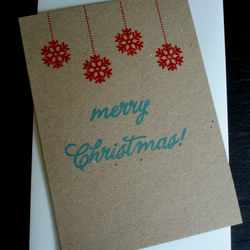 5 x screenprinted Christmas cards