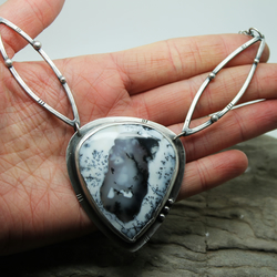 Be still hear the wild earth's song.. Dendritic agate,Merlinite Necklace