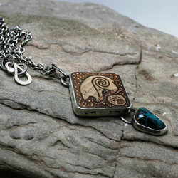 Follow your arrow bear pryrographed birch wood, sterling silver, Azurite necklac