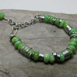 Apple Chrysoprase and Sterling silver equinox bracelet rustic original handmade