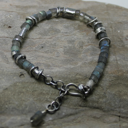 Labradorite and Sterling silver equinox bracelet 925 everyday wear rustic