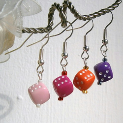Buy 4, get a 5th pair FREE!  Dice drop earrings - 1""
