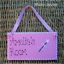 PERSONALISED Pretty Pink Girl Wooden Door Plaque PRINCESS WAND Girl's Bedroom