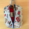 London fabric expanding craft or knitting project bag, zipped.