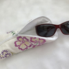 Glasses case from vintage hand embroidered linen. Zipped and funky!