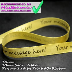 One metre of YELLOW personalised decorative satin ribbon.