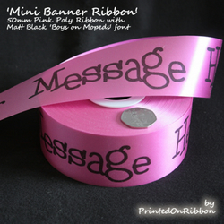 One metre of PINK personalised decorative Mini Banner Ribbon. QR CODE COMPATIBLE