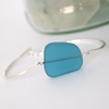 Seaglass and Silver Bracelet in Teal