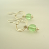 Silver Circles Earrings in Green