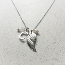 Personalised Angels Wing Birthstone Necklace - April