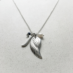 Personalised Angels Wing Birthstone Necklace -  September