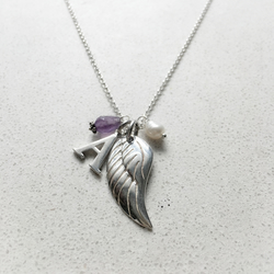 Personalised Angels Wing Birthstone Necklace - February