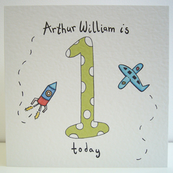 Rocket and Plane First Birthday Card  ( Personalised )