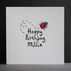 Personalised Ladybird Birthday Card.