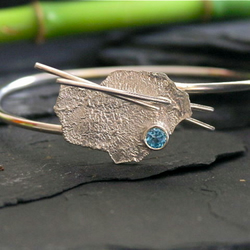 Silver  Bangle - Topaz Contemporary Relic IV
