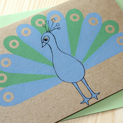 Peacock Card (Recycled Natural)