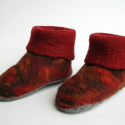 Felted slippers, felted slipper boots, red, tortoiseshell, felted wool, wet felted, with soles - UK 3