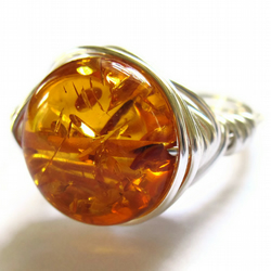 Faux Amber Silver Wire Wrapped Ring