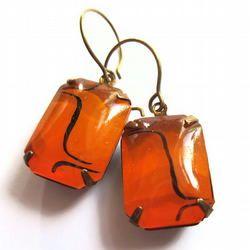 Vintage Style Earrings Tangerine Glass Hollywood Glam