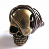 Brass Skull Ring Wire Wrapped Unisex Boho Goth Punk Jewellery
