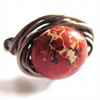 Red Terra Jasper Antiqued Brass Wire Wrapped Ring