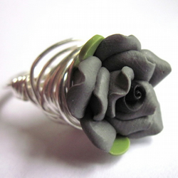 Charcoal Grey Flower Rose Wire Wrapped Ring