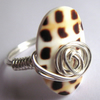 Chocolate And Cream Oval Animal Print Shell Swirls Silver Wire Wrapped Ring Any Size