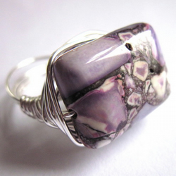 Purple Mosaic Magnesite Gemstone Silver Wire Wrapped Ring