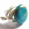 Turquoise Teal Blue Terra Jasper Wire Wrapped Ring