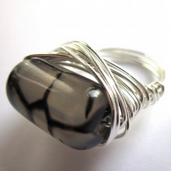 Smoky Grey Dragon Vein Agate Wire Wrapped Ring