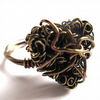 Antiqued Brass Wire Heart Wrapped Ring Any Size