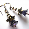 Lavender Glass Flower And Antiqued Brass Dangle Earrings