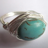 Chalk Turquoise Wire Wrapped Ring