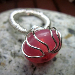 Pink Glass Showstopper Wire Wrapped Ring