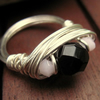 Sterling Silver Baby Pink And Black Swarovski Wire Wrapped Ring