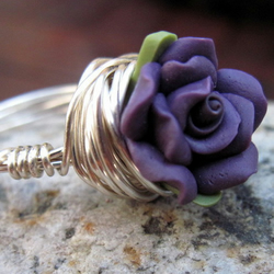 Haunting Mulberry Rose Wire Wrapped Ring