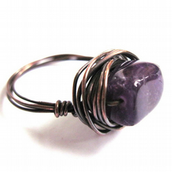 Amethyst Nugget Gemstone And Antiqued Copper Wire Wrapped Ring