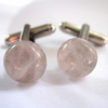 Rose Quartz Gemstone Silver Cufflinks