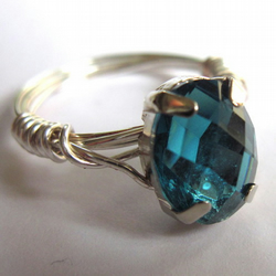 Mediterranean Blue Faceted Oval Claw Set Montee Wire Wrapped Ring