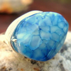 Aqua Dragon Vein Agate Wire Wrapped Ring
