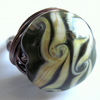 Swirling Lampwork And Antiqued Wire Wrapped Ring