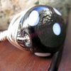 Black And White Spots Glass Wire Wrapped Ring